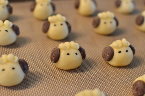 shaped sheeps before baking