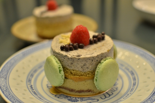 Black Sesame Mousse (with green tea mousse on green tea sponge cake and chocolate sponge cake)